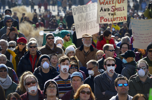 Scott Sommerdorf   |  The Salt Lake Tribune More than 4,000 people - many of them wearing surgical masks - came to the Utah State Capitol building to protest the unhealthy air in Utah, Saturday, Jan. 25, 2014.