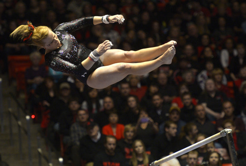 Rick Egan  | The Salt Lake Tribune   Tory Wilson competes on the bars for the Utes, in Pac12 gymnastics competition, Utah vs. UCLA, at the Huntsman Center, Saturday, January 25, 2014.