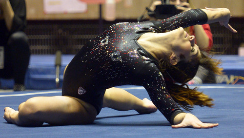 Rick Egan  | The Salt Lake Tribune   Nansy Damianova competes on the floor for the Utes, in Pac12 gymnastics competition, Utah vs. UCLA, at the Huntsman Center, Saturday, January 25, 2014.
