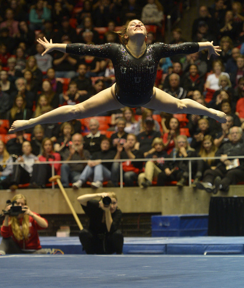 Rick Egan  | The Salt Lake Tribune   Becky Tutka competes on the floor for the Utes, in Pac12 gymnastics competition, Utah vs. UCLA, at the Huntsman Center, Saturday, January 25, 2014.