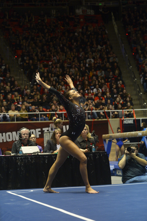 Rick Egan  | The Salt Lake Tribune   Lia Del Priore competes on the floor for the Utes, in Pac12 gymnastics competition, Utah vs. UCLA, at the Huntsman Center, Saturday, January 25, 2014.