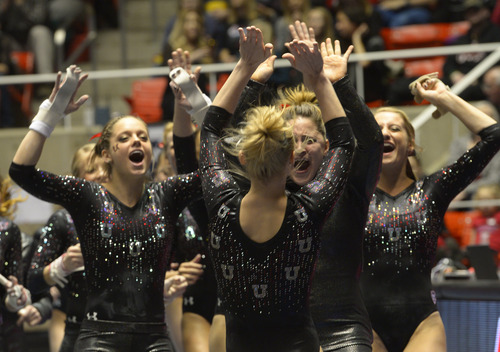 Rick Egan  | The Salt Lake Tribune   Team mates congratulate Georgia Dabritz, after her near perfect performance on the vault for the Utes, in Pac12 gymnastics competition, Utah vs. UCLA, at the Huntsman Center, Saturday, January 25, 2014.