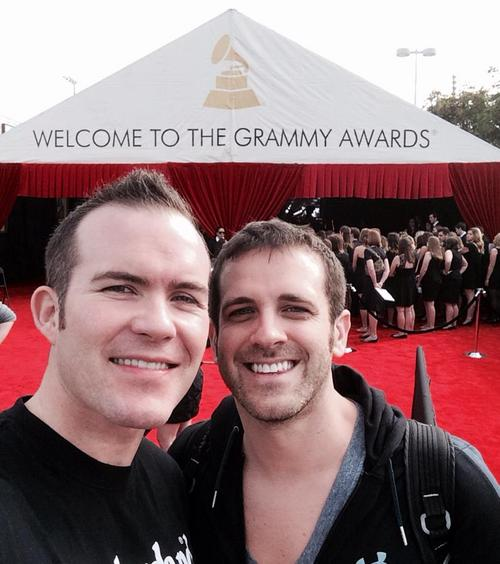 (Courtesy Spencer Stout)    Spencer Stout and Dustin Reeser stand outside the Staples Center in Los Angeles, where they will be married Sunday night on stage during the Grammy Awards.