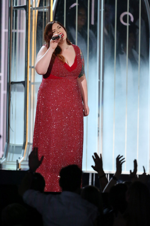 """Mary Lambert performs """"Same Love"""" at the 56th annual Grammy Awards at Staples Center on Sunday, Jan. 26, 2014, in Los Angeles. (Photo by Matt Sayles/Invision/AP)"""