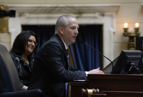 Francisco Kjolseth  |  The Salt Lake Tribune Senate President Wayne Niederhauser opens up the 45-day 2014 legislative session on Monday, Jan. 27, in the Senate chambers with an opening prayer by Elder D. Todd Christopherson.