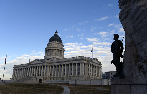 Al Hartmann  |  The Salt Lake Tribune The Utah Capitol is hit with early morning light Monday Jan. 27 for the start of the 45-day 2014 legislative session.