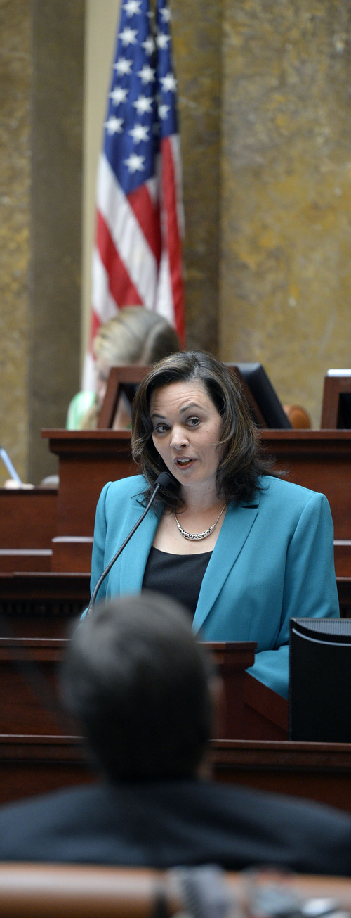 Al Hartmann  |  The Salt Lake Tribune Speaker of the House Becky Lockhart starts the 45-day long 2014 Utah  legislative session with remarks to set the tone in the House of Representatives Monday January 27.