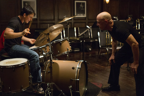 """A young drummer (Miles Teller, left) and a hard-driving teacher (J.K. Simmons) are engaged in a battle of wills in """"Whiplash."""" Courtesy Sundance Institute"""