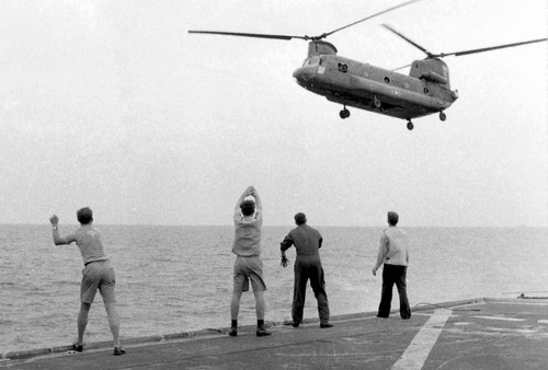 "A film still showing USS Kirk crew members in ""Last Days in Vietnam."" Courtesy Hugh Doyle  |  Sundance Institute"