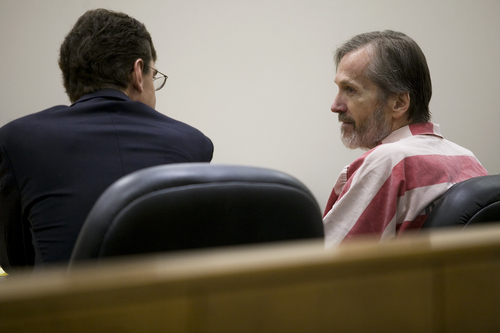 Mark Johnston  |  Pool file photo  Martin MacNeill, right, speaks to his attorney Randy Spencer during a hearing in his sex abuse case at 4th District Court in Provo Thursday, Jan. 23, 2014.