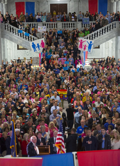 Steve Griffin  |  The Salt Lake Tribune  Hundreds of advocates of traditional marriage fill the Rotunda as they rally at the Utah State Capitol in Salt Lake City Wednesday, January 29, 2014.