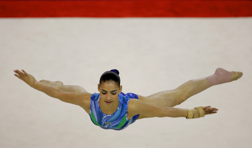 Brazils Lais Souza Is Airborne As She Performs In The Womens Individual Apparatus Final For