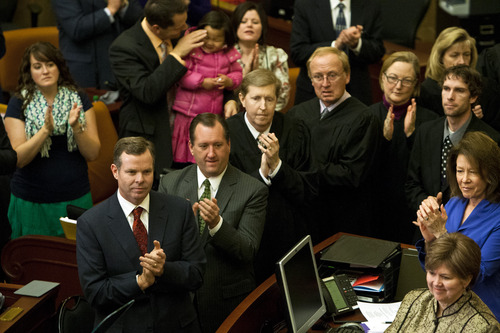 Chris Detrick  |  The Salt Lake Tribune Attorney General John Swallow applauds during Utah Gov. Gary Herbert's State of the State address at the Utah State Capitol Wednesday January 30, 2013.