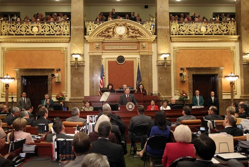 Utah Governor Gary Herbert delivers the State of the State speech to the Utah State Legislature on Capitol Hill, Wednesday, January 30, 2013, in Salt Lake City. (AP Photo/Tom Smart,Pool)