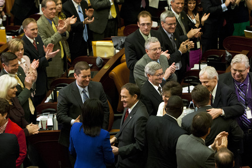 Chris Detrick  |  The Salt Lake Tribune Utah Gov. Gary Herbert greets members of the Utah Senate and House of Representatives after his State of the State address at the Utah State Capitol Wednesday January 30, 2013.