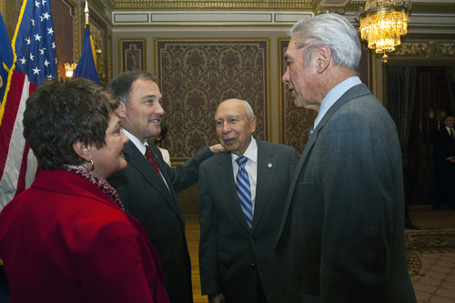 Chris Detrick  |  The Salt Lake Tribune Utah Gov. Gary Herbert and First Lady Jeanette Herbert meet with Waldo Udarbe, right, and Clarence Udarbe before his State of the State address at the Utah State Capitol Wednesday January 30, 2013.