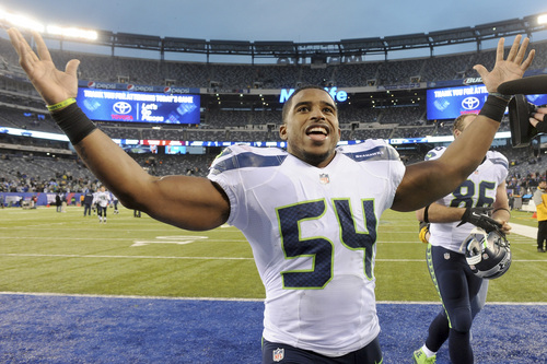 Seattle Seahawks linebacker Bobby Wagner reacts after an NFL football game against the New York Giants, Sunday, Dec. 15, 2013, in East Rutherford, N.J. The Seahawks won 23-0. (AP Photo/Bill Kostroun)