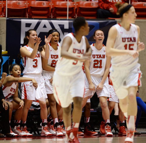 Steve Griffin     The Salt Lake Tribune   Utah players jump from the bench as they celebrate a basket late in the game during second half action in the Utah versus Colorado women's basketball game at the Huntsman Center in Salt Lake City, Utah Wednesday, January 29, 2014.