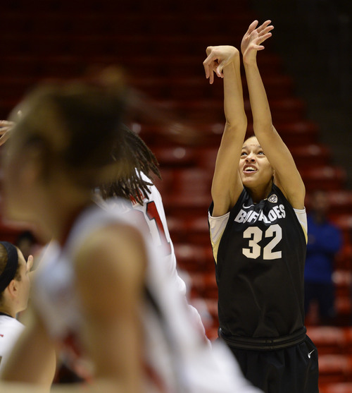 Steve Griffin     The Salt Lake Tribune   Colorado Buffaloes forward Arielle Roberson (32) watches as her last second game tying three -pointer come up short during second half action in the Utah versus Colorado women's basketball game at the Huntsman Center in Salt Lake City, Utah Thursday, January 30, 2014.