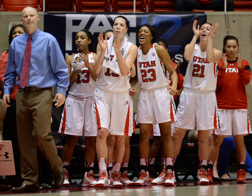 Steve Griffin     The Salt Lake Tribune   The Utah bench cheers on their team during second half action in the Utah versus Colorado women's basketball game at the Huntsman Center in Salt Lake City, Utah Wednesday, January 29, 2014.