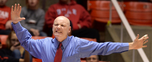 Steve Griffin     The Salt Lake Tribune   University of Utah coach Anthony Levrets grimaces in disbelief as his team i called for a foul during second half action in the Utah versus Colorado women's basketball game at the Huntsman Center in Salt Lake City, Utah Wednesday, January 29, 2014.