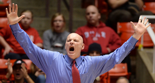 Steve Griffin     The Salt Lake Tribune   University of Utah coach Anthony Levrets screams in disbelief as his team i called for a foul during second half action in the Utah versus Colorado women's basketball game at the Huntsman Center in Salt Lake City, Utah Wednesday, January 29, 2014.
