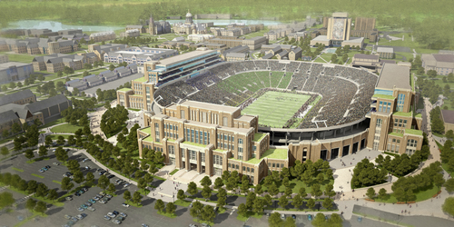 """In this artists rendering provided by The University of Notre Dame is the school's new football stadium. Notre Dame announced plans Wednesday, Jan. 29, 2014 to expand the school's 84-year-old football stadium, adding up to 4,000 premium seats and spending about $400 million to add buildings on three sides of the """"House that Rockne Built."""" (AP Photo/The University of Notre Dame)"""
