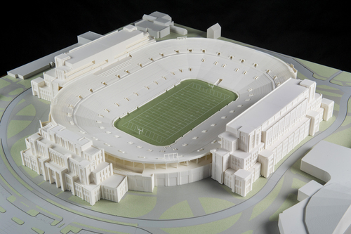 """In this Jan. 17, 2014 photo is a model of The University of Notre Dame's new football stadium. Notre Dame announced plans Wednesday, Jan. 29, 2014 to expand the school's 84-year-old football stadium, adding up to 4,000 premium seats and spending about $400 million to add buildings on three sides of the """"House that Rockne Built."""" (AP Photo/The University of Notre Dame, Barbara Johnston)"""