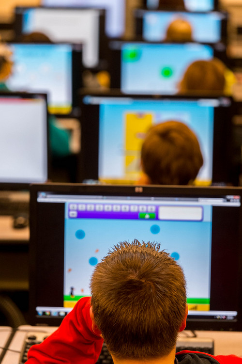 Trent Nelson  |  The Salt Lake Tribune Tooele Junior High School students learning math with the help of software that is being piloted through Utah's new STEM Action Center, Tuesday January 28, 2014 in Tooele.
