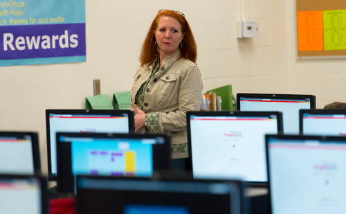 Trent Nelson  |  The Salt Lake Tribune Math teacher Lisa Johnson overseeing Tooele Junior High School students learning math with the help of software that is being piloted through Utah's new STEM Action Center, Tuesday January 28, 2014 in Tooele.
