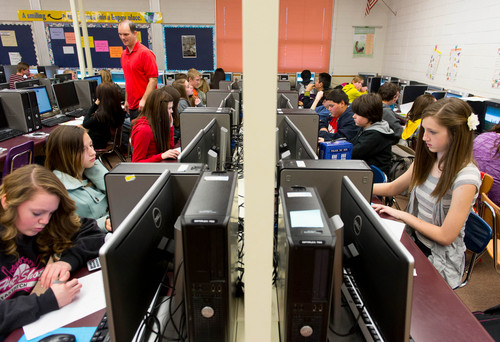 Trent Nelson  |  The Salt Lake Tribune Math teacher Brent Larsen oversees Tooele Junior High School's 850 seventh- and eighth-graders are learning math with the help of software that is being piloted through Utah's new STEM Action Center  Tuesday January 28, 2014 in Tooele.