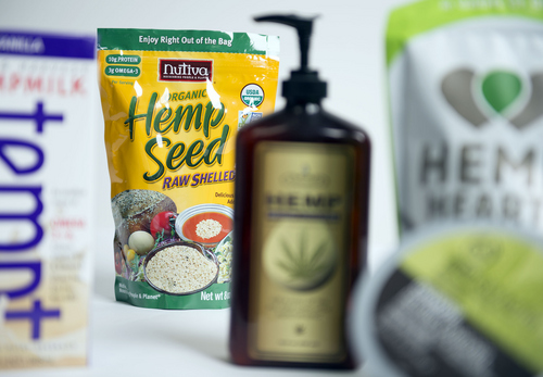 Keith Johnson | The Salt Lake Tribune Hemp fiber has traditionally been used in rope and textiles. Today hemp oil and seeds are found in beauty and food products such as those pictured here and purchased from Utah retailers. Photographed January 29, 2014.