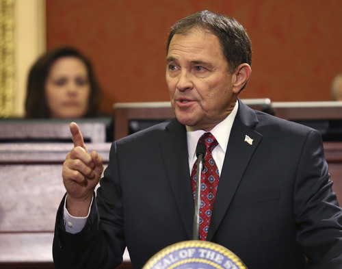 Tom Smart | Pool Governor Gary R. Herbert delivers his 2014 State of the State address Wednesday, Jan. 29, 2014, in Salt Lake City.