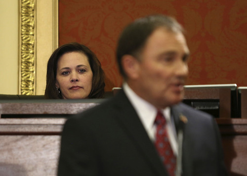 Tom Smart | Pool Speaker of the House Becky Lockhart, R-Provo, listens as Governor Gary R. Herbert delivers his 2014 State of the State address Wednesday, Jan. 29, 2014, in Salt Lake City.