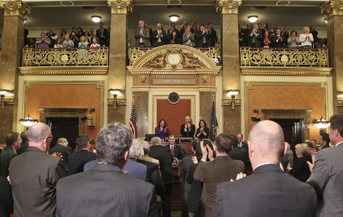 "Tom Smart | Pool The chambers give Governor Gary R. Herbert a standing ovation after he said, ""while I continue to defend traditional marriage and will continue to defend Amendment 3, there is no place in our society for tarred and bigotry,"" while delivering his 2014 State of the State address Wednesday, Jan. 29, 2014, in Salt Lake City."