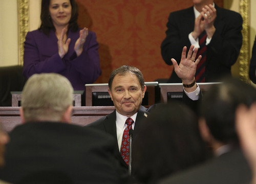 Tom Smart | Pool Governor Gary R. Herbert waves to the crowd after he delivers his 2014 State of the State address Wednesday, Jan. 29, 2014, in Salt Lake City.
