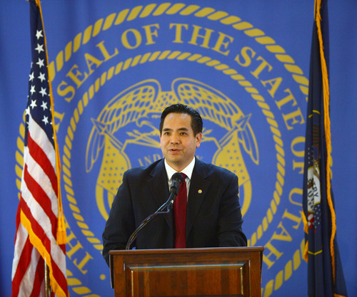 Steve Griffin  |  The Salt Lake Tribune  New Utah Attorney General Sean Reyes speaks to the audience during his swearing-in ceremony at the Utah State Capitol Rotunda in Salt Lake City Monday, Dec. 30, 2013.