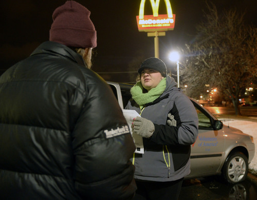 Al Hartmann  |  The Salt Lake Tribune Cyndie LaCour, case worker with Volunteers of America, interviews a homeless man Wednesday Jan. 30, 2014, at 5:30 a.m. in downtown Salt Lake City. Each year, Volunteers of America, in conjunction with other agencies, takes a head count of homeless people living on the streets of Salt Lake City.