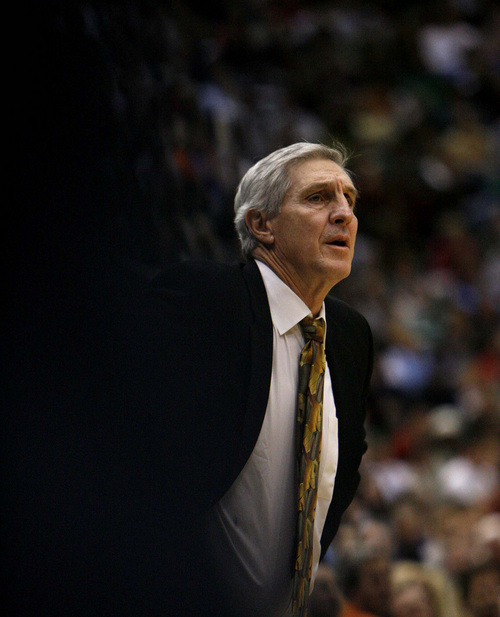Trent Nelson  |  The Salt Lake Tribune  Jazz coach Jerry Sloan. Utah Jazz  is seen in a game against the New York Knicks on Feb. 10, 2007.