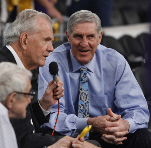 Trent Nelson  |  The Salt Lake Tribune  In this 2009 file photo, Utah Jazz head coach Jerry Sloan does a pre-game interview with Rod Hundley.