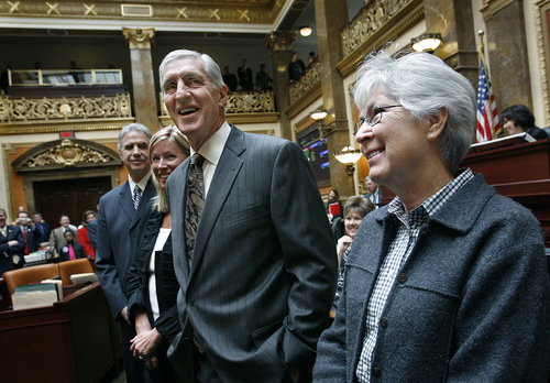 Scott Sommerdorf  |  The Salt Lake Tribune  Former Utah Jazz head coach Jerry Sloan and assistant coach Phil Johnson (far left) listen as they are applauded In the Utah House of Representatives, Monday, March 7, 2011. The two former coaches were accompanied by Gail Miller, wife of former Jazz owner Larry Miller (right).