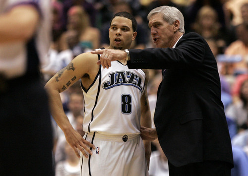 Chris Detrick  |  The Salt Lake Tribune  Utah's Deron Williams and Jerry Sloan confer during game three of their series against the Houston Rockets during the 2007 NBA playoffs.