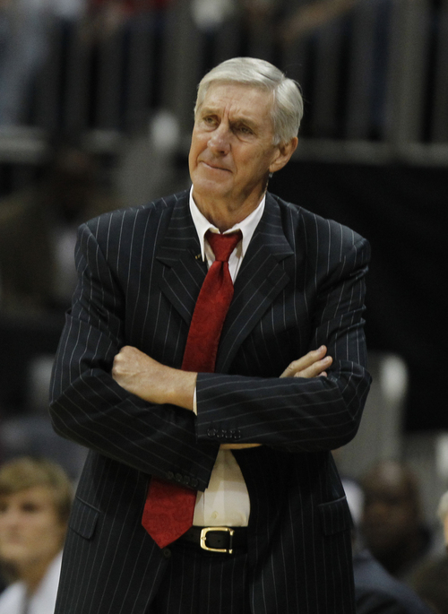 This Nov. 12, 2010, file photo shows Utah Jazz head coach Jerry Sloan during an NBA basketball game against the Atlanta Hawks, in Atlanta. Sloan stepped down as head coach of the Jazz in February.  (AP Photo/John Bazemore, File)
