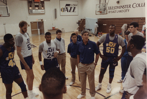 Rick Egan  |  The Salt Lake Tribune  Jerry Sloan talks to the team during a practice in 1991.