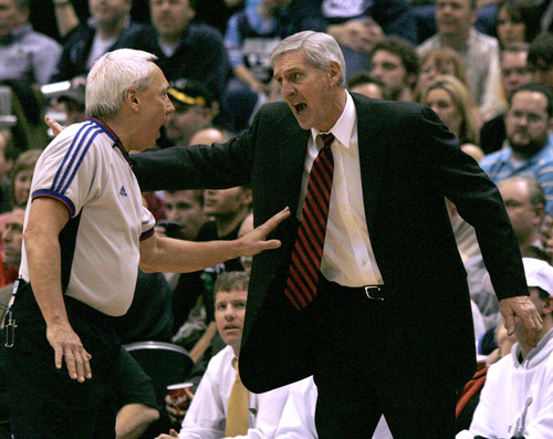 Rick Egan  |  The Salt Lake Tribune  Jerry Sloan yells at a ref as the Jazz face the Spurs  Spurs at the EnergySolutions Arena on Jan 31, 2007.