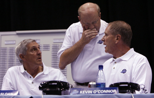 Francisco Kjolseth  |  The Salt Lake Tribune  Utah Jazz coach Jerry Sloan, owner Larry H. Miller and Jazz Vice President of basketball operations Kevin O'Connor discuss their options in the final moments to their first round pick at the Delta Center during the Draft Day watch party on June 28, 2006.