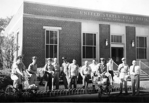 Photo Courtesy Utah State Historical Society  Post Office employees outside of new St. George, Utah Post Office.