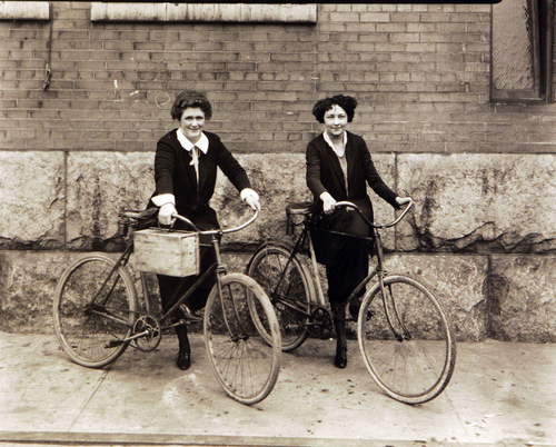 Photos courtesy of Utah Historical Society  Girls with their bicycles at Utah Power and Light, May 28, 1924.