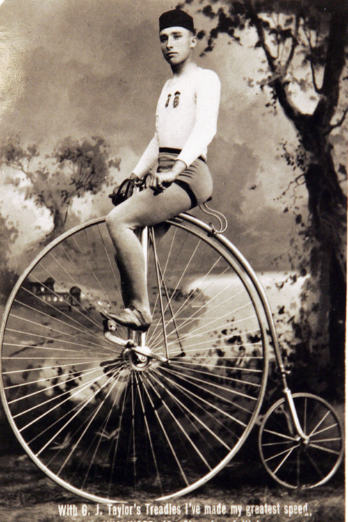 Photos courtesy of Utah Historical Society  Bicycle champion William Wood with G.J. Taylor's Treadles bicycle, May 6, 1936..