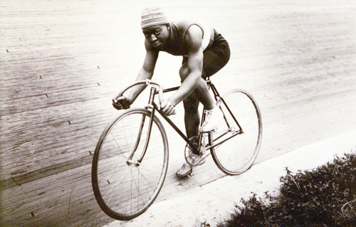 "Photo Courtesy of the Utah Historical Society   Bicycle racer Marshall ""Major"" Taylor at the Salt Palace in 1911."